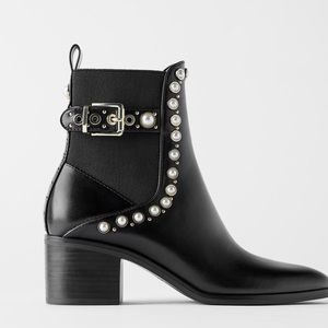 Zara Pearl and Stud Mid-heel Ankle Boot